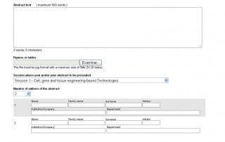 formulario de envío de comunicaciones científicas