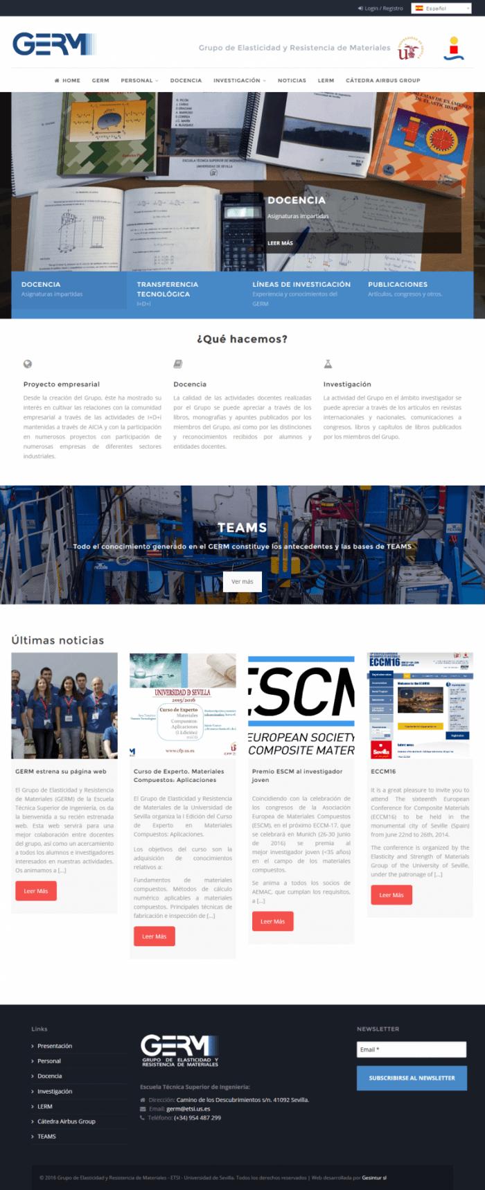 diseño de página web de departamentos de la facultad